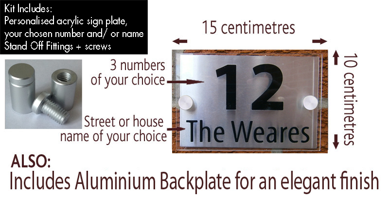 modern house sign plaque quality acrylic brushed. Black Bedroom Furniture Sets. Home Design Ideas