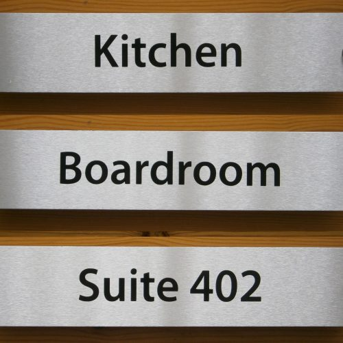 Personlised Office Door Signs 300mmx 60mm Brushed Aluminium
