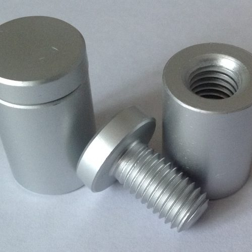 Satin Silver Aluminium Stand Off Fittings