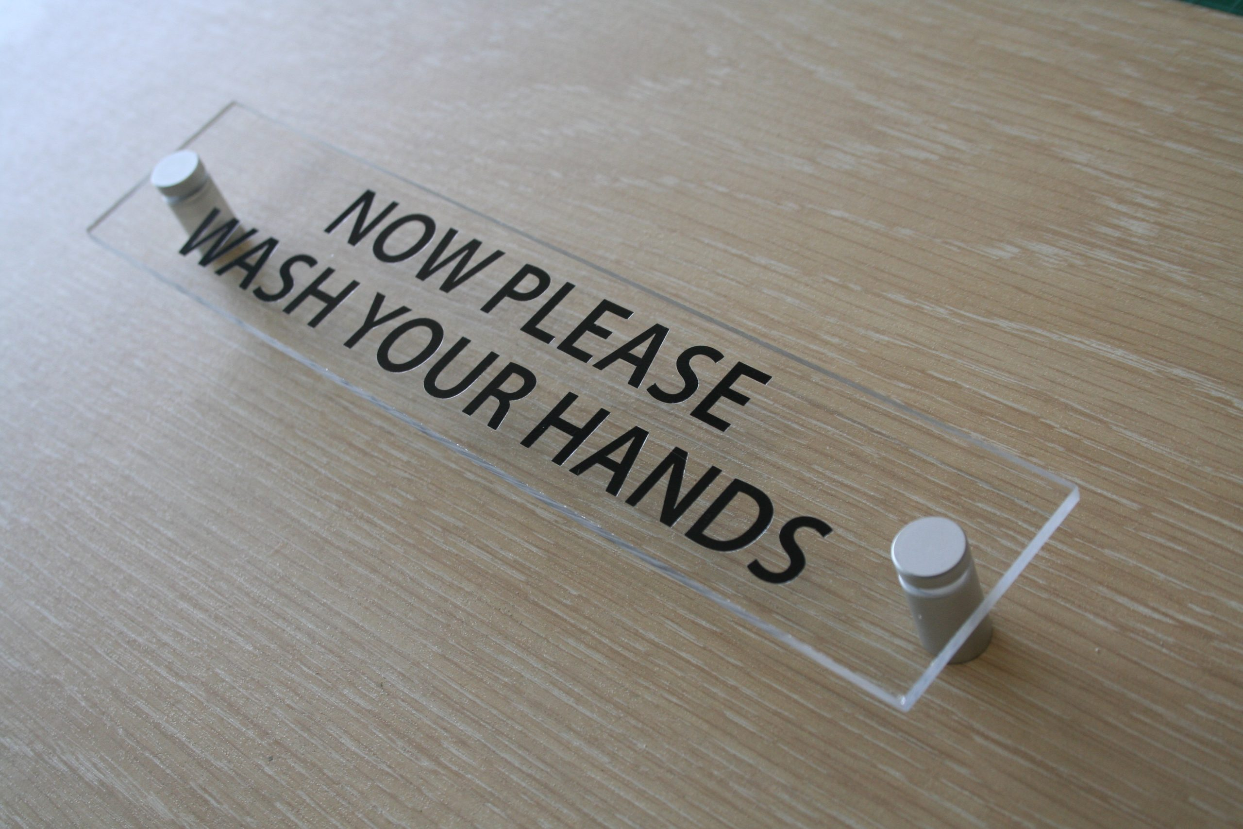 WASH HANDS TOILET DOOR WALL SIGN